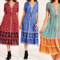 Women Holiday Summer V Neck Boho Long Maxi Dress Evening Party Beach Sundress