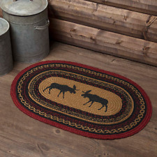 "New Primitive Rustic Cabin Lodge Red MOOSE BRAIDED JUTE RUG Mat Area 20""x 30"""
