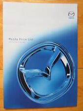 MAZDA 2003 UK Mkt Price List brochure - 2 323 6 Premacy MPV MX5 Tribute B-Series