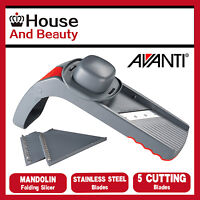 NEW Avanti Folding Mandolin Slicer 5 Cutting Blades with Handy Storeage Box