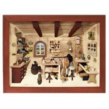 German 3D Wooden Shadow Box Picture Diorama Shoemaker Workshop Cobbler Shop