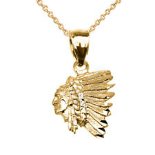 Solid 10k Yellow Gold Native American Indian Head Pendant Necklace