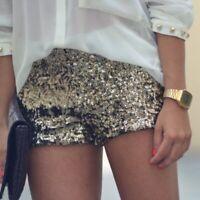 ZARA gold sequin festival party shorts elasticated waist lined size medium M