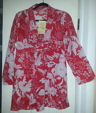 ALLER SIMPLEMENT floral Tunic, red - white, BOHO, NWT, Size S/M