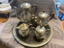 Royal Holland Pewter Daalderop Coffee Tea Set With Tray Wood Handles