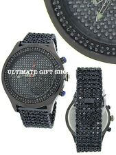 BLING MASTER PAVE BAND+OVERSIZE POLISHED GUNMETAL TONE CRYSTAL DIAL WATCH 91359S