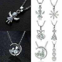 Fine Charm 925 Silver Crystal Zircon Necklace Pendant Choker Chain Women Jewelry