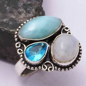 Larimar Rainbow Moonstone Ethnic Handmade Ring Jewelry US Size-7.5 AR 42715