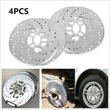 4x Silver Tone Aluminum Cross Drilled Car Disc Brake Rotor Cover 4/5 bolts wheel
