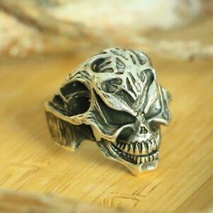 Skull Signet Men's Rings Handmade 925 Sterling Silver Skull Biker Ring SIZE 8.75