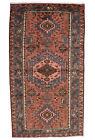 Vintage Tribal Oriental Hamadan Rug, 4'x8', Red/Blue, Hand-Knotted Wool Pile