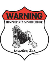 "Warning! Lowchen - Property Protected Aluminum Dog Sign - 7"" x 8"" (Badge)"
