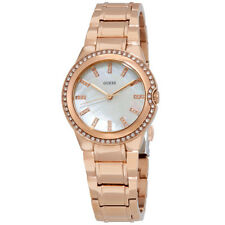 Guess Mother Of Pearl Dial Ladies Rose Gold Tone Crystal Watch W0110L1