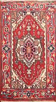 Geometric Hand-knotted Indo Heriz Oriental Area Rug Classic Foyer Carpet 2x3 ft