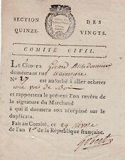 REVOLUTION SECTION DES QUINZE VINGTS 1794