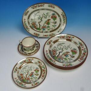 Copeland China - Indian Tree - 4 Dinner Plates, 1 Dessert, Platter, Cup/Saucer