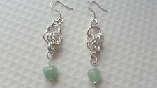 GREEN AVENTURINE HEARTS AND CHAINMAILLE EARRINGS.