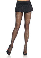 LEG AVENUE - Fishnet Tights with Spiderweb Print  - Black - 9085 Halloween/Party