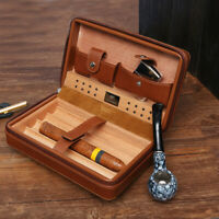 Brown Portable Cow Leather Box Humidor Cedar Wood Case 4 Tube Holder Travel