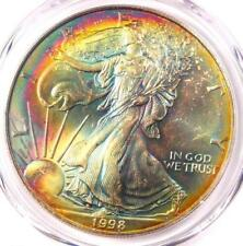 1998 Toned American Silver Eagle Dollar $1 ASE - PCGS MS66 - Rainbow Toning Coin