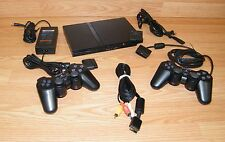 Genuine Sony (SCPH-75001) PlayStation PS2 Slim Charcoal Black Console Bundle