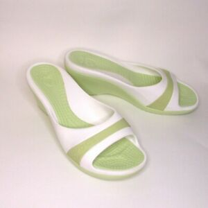 Crocs Woman's Sassari Wedge Sandals Size 10 Slip On Slide Green and White