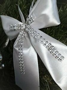 10 Christbaumschleifen (10 x 15 cm) Weiß Silber Strass, Weihnachtsschleifen Deko