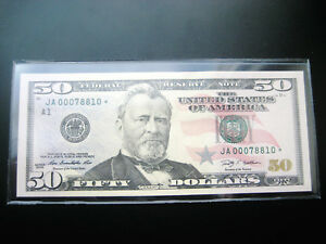 $50 2009***JA STAR***FEDERAL RESERVE CHOICE UNC BU NOTE LOW#ooo7881o