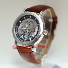 GOER Luxury AutoMechanical Skeleton Hollow Brown Leather Men Mechanical XL Watch