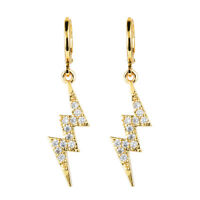 Fashion Women 18K Gold Plated Lightning CZ Cubic Zirconia Drop Earrings Jewelry