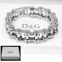 "DG Men's 8.5""Silver.Stainless Steel 12mm Motorcycle Bike Link Chain Bracelet*BOX"