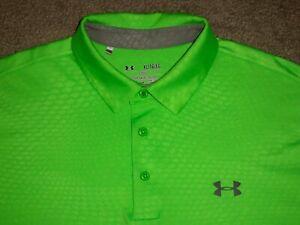 Men's NWOT UNDER ARMOUR HG Polo XL BRIGHT GREEN w/UA Logos