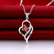 Wholesale 925 Sterling Sliver Filled Love Heart Red CZ Crystal Chain Necklace