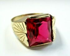 Gorgeous Vntg 14K Yellow Gold signet RING Large Radiant Ruby size 10.25 men's
