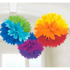 3 Rainbow Engagement Party Hanging Fluffy Tissue Paper Ball Decorations