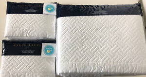 3 pc Ralph Lauren King Greenwich Coverlet & 2 Euro Shams Deco White New Pristine