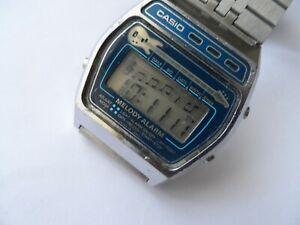 Vintage Casio Melody Guitar M-321 Alarm LCD Mens Japan Watch.Missing Crystal.
