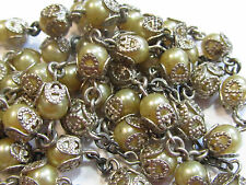 """† HTF HUGE VINTAGE CREED STERLING PENDANT & CAPPED PEARL STYLE ROSARY 32 1/2"""" †"""