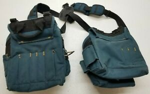 Husky Brand Tool Belt With Suspenders Pouch Pockets Blue Black