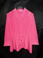 Susan Graver 1X Pink White Polka Dot Crepe Shirt Long Sleeve Blouse Button 1XL