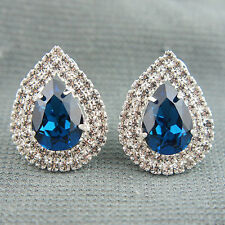 18k white Gold plated with Swarovski crystals Diamond cut teardrop earrings