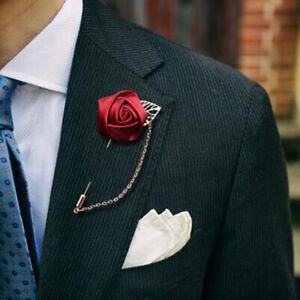 Silk Rose Flower Groom Boutonniere Man Corsage Suit For Wedding Party-Decoray3