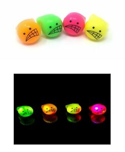 12 Funny Face Flashing LED Jelly Rings Light Up Finger Glow Party Bag Favours