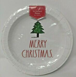 "Rae Dunn Christmas 8"" Dessert plates Merry Christmas 16"