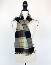 Vtg Womens Made In West Germany 100% Merino Wool Scarf Tartan Plaid Gray Red