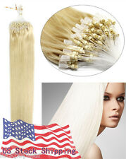 Loop Micro Ring Bead Tip Remy Human Hair Extensions Light Blonde 20Inch US 100S