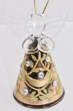 GISELA GRAHAM CHRISTMAS CLEAR GOLD GLASS ANGEL WITH DIAMANTE LEAF DECORATION