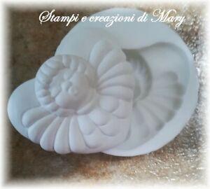 Stampo cuore con angelo in silicone per gessetti, bomboniere segnaposto 5,5x 6