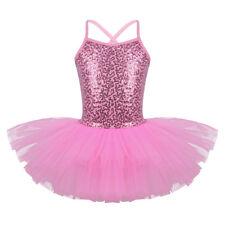 Girl Ballet Dress Tutu Leotard Gymnastics Glittery Dance Wear Swan Fairy Costume