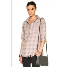 Current Elliott Pink Tinsel Plaid Shirt Size 2 Medium Button Down Fringe NWT